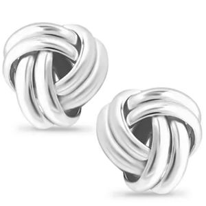 Double Love Knot Earrings in Sterling Silver